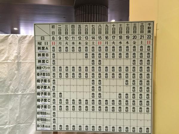 2015年大相撲 春場所 三月場所 大阪場所 会場 チケット 当日券 座席表