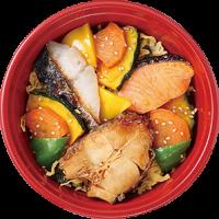大丸梅田店 どんぶりグランプリ ちちんぷいぷいで紹介 メニュー 1位 スタンプラリー 魚味撰 3種の焼魚と彩り野菜のよくばり丼 魚味撰 3種の焼魚と彩り野菜のよくばり丼