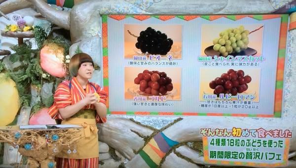 ちちんぷいぷい ぶどうパフェ 4種類のぶどう ルビーロマン 果物屋 アオイ農園 はじめて食べました MBS グルメ 人気 行列 待ち時間 お取り寄せ 混雑
