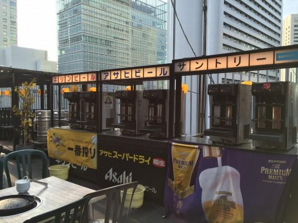 神仙閣ビアガーデン 大阪駅前第一ビル 中華料理 料理内容 飲み放題 時間無制限 料金 値段 混雑 予約 屋上ビアガーデン バーベキュー