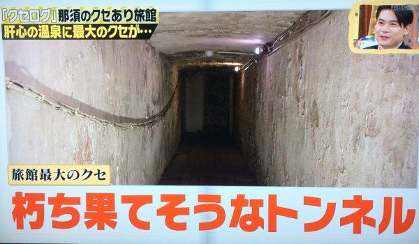 しくじり先生 クセログ 温泉 雲海閣 栃木県 那須湯本温泉 部屋から温泉まで遠い トンネル 距離が長い 硫黄泉