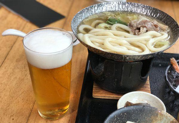 牛小鍋とビール
