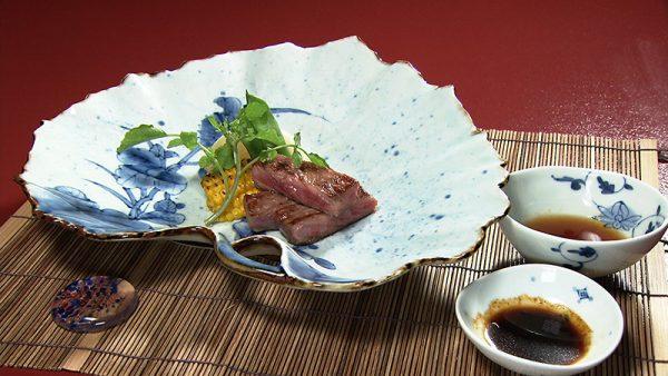 名月荘 夕食 山形牛ステーキ