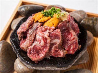 おはよう朝日 うに いくら 薩摩ごかもん 京橋 国産牛ロースの炭火焼 特製ウニソース