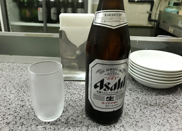 上海餃子 ビンビール アサヒ