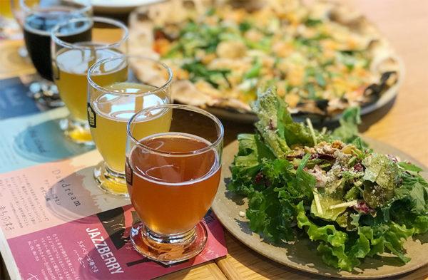 SVB京都 ランチセット 紅ズワイガニと3種キノコのピッツァ サラダ
