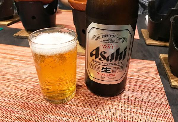 朝日楼  夕食 ビール