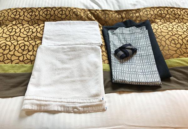 朝日楼 客室 タオル 浴衣