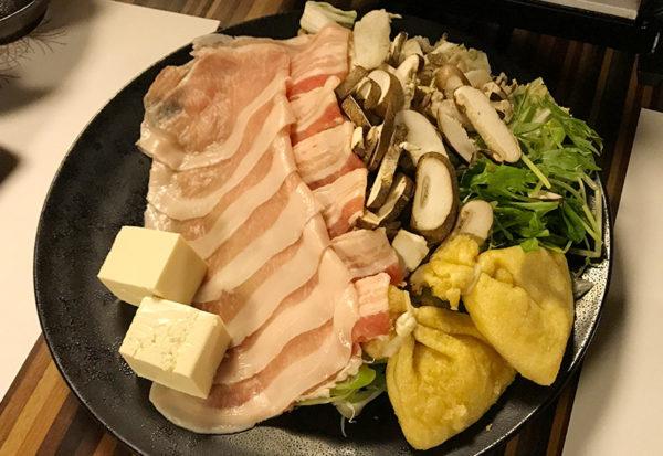 箱根 ススキの原一の湯 夕食 豚のしゃぶしゃぶ
