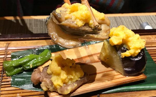 静岡牛と牡蠣と秋茄子の柚子味噌田楽 焼き物 伊豆 修善寺 ねの湯 対山荘 夕食