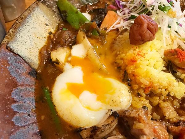 鶏なっぱスープカレー 鶏ざんまい 温泉卵