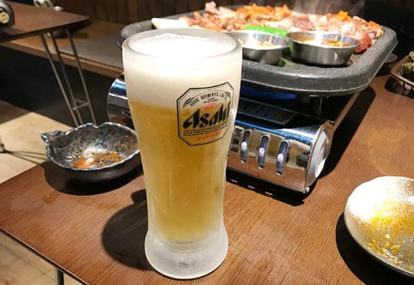 宝塚 韓国料理 ハルバン  生中 ビール