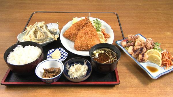 大阪屋 アジフライ定食 たこから揚げ