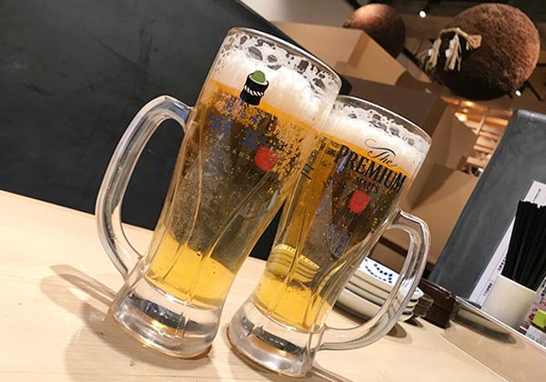 西宮北口 杉玉 寿司 居酒屋 生ビール ジョッキ