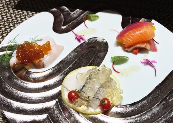 有馬温泉 有馬きらり 新和食 フュージョン 桜鱒とピクルス 細魚オイル漬け 生蛸のコンフィ 柑橘じゅれ
