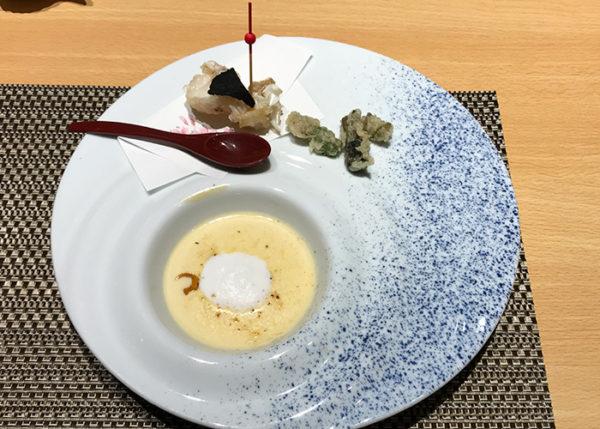 有馬温泉 有馬きらり 新和食 フュージョン 甘鯛の白扇揚げ 雲丹クリームと焼きチーズ