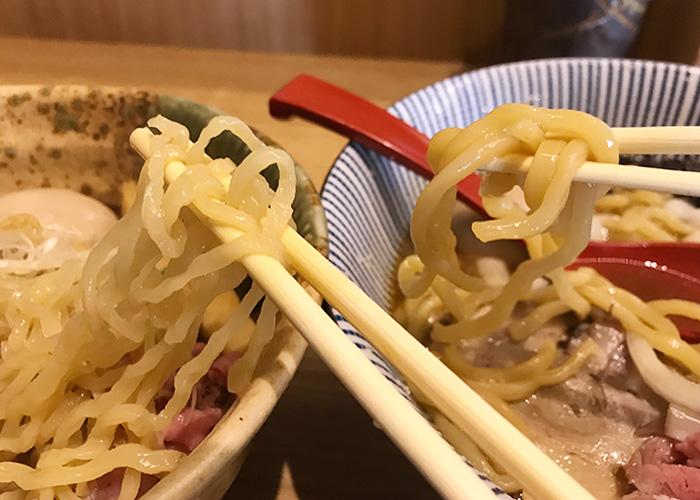 背脂醤油らー麺 麺比較 ジョーテラスオオサカ 大阪城下町 ラーメン小路 焼きあご塩らー麺 たかはし