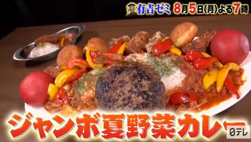 有吉ゼミ チャレンジグルメ ギャル曽根 巨大グルメ 夏野菜カレー