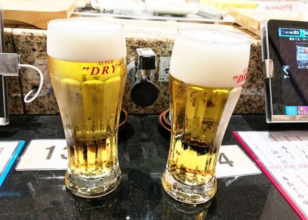 函館 立喰い寿司 函太郎 生ビール