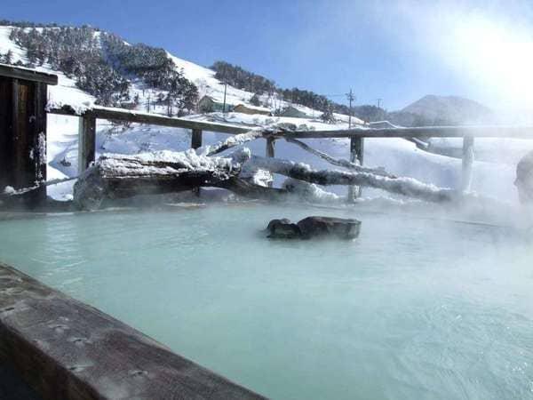 万座温泉 日進館 絶景露天風呂 極楽湯 雪見風呂