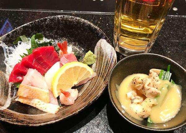 金沢まいもん寿司 ビール アテ 刺身