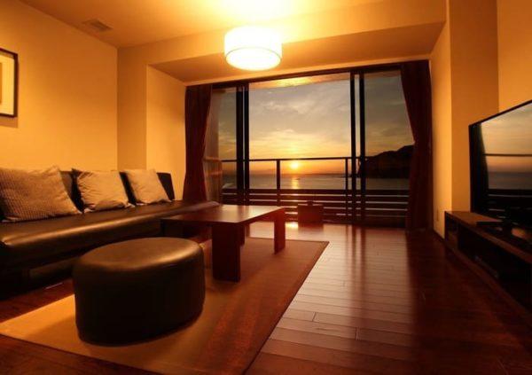 安房温泉 ビーチサイド温泉リゾート ゆうみ 夕焼け サンセット 客室